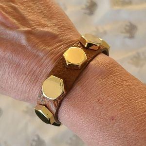 Cara Couture leather bracelet tan gold studs